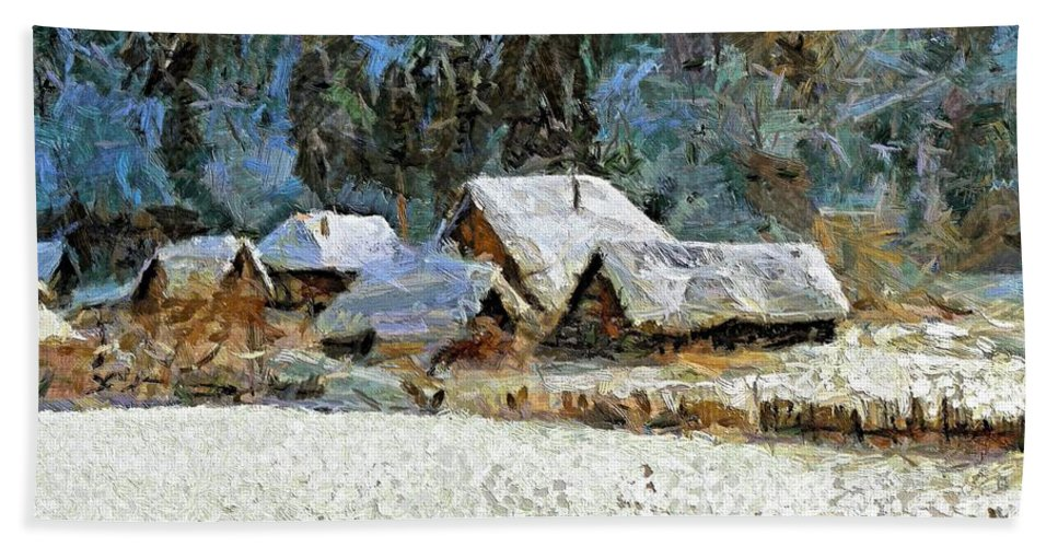 Landscapes Bath Sheet featuring the painting Village In Winter by Dragica Micki Fortuna