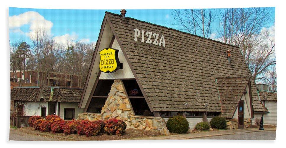 Pizza Bath Sheet featuring the photograph Village Inn Pizza by Cynthia Guinn