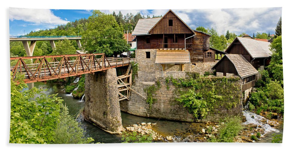 Platform Hand Towel featuring the photograph Village Of Rastoke River Canyon by Brch Photography