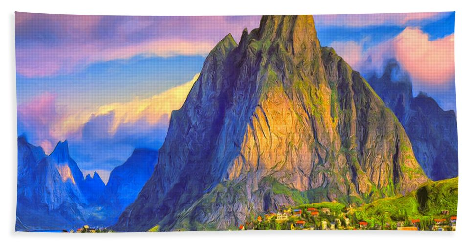 Gudwangen Bath Sheet featuring the painting Village On The Naeroyfjord Norway by Dominic Piperata