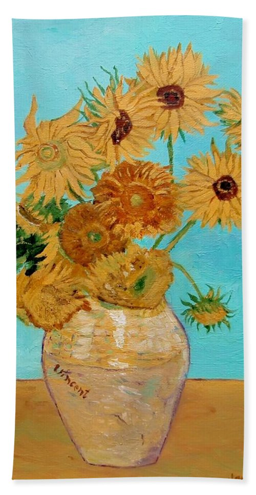 Van Gogh Bath Sheet featuring the painting Vincent's Sunflowers by Jamie Frier
