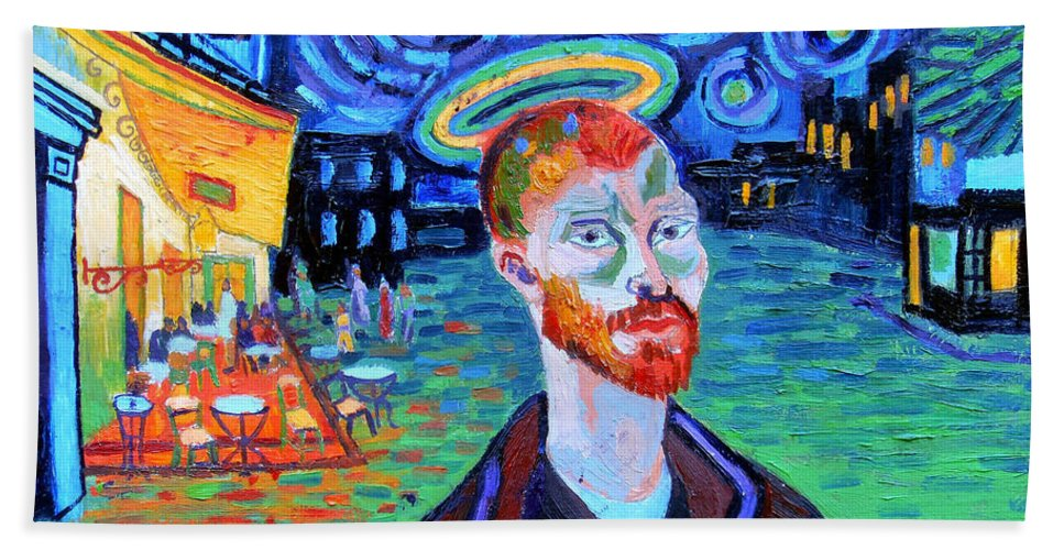 Vincent Van Gogh Bath Sheet featuring the painting Vincents' Yellow Cafe by Genevieve Esson