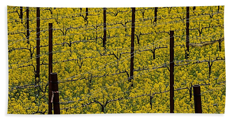 Napa Hand Towel featuring the photograph Vineyards Full Of Mustard Grass by Garry Gay