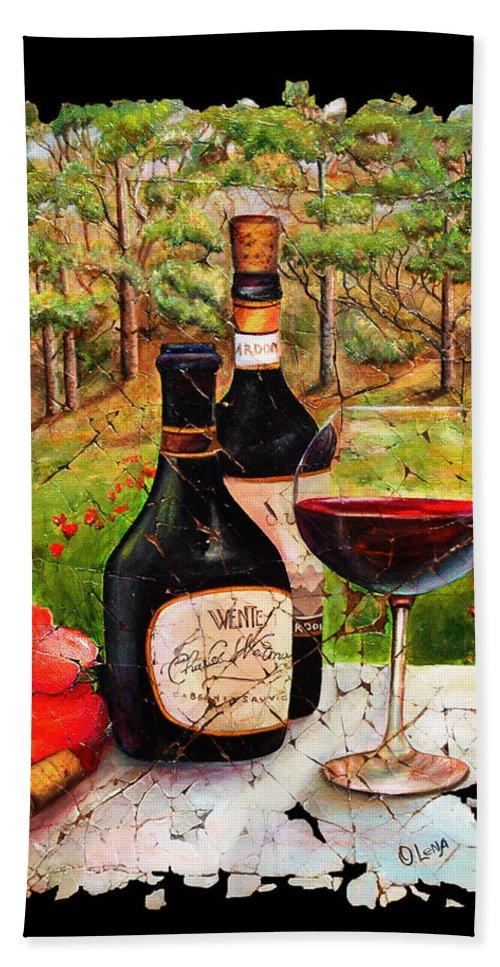 Fresco Bath Sheet featuring the painting Vino by OLena Art Lena Owens