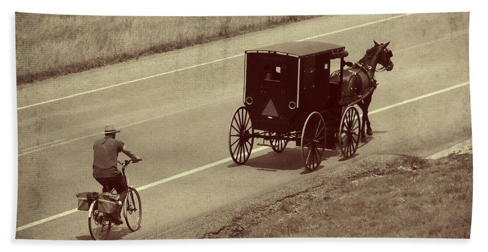 Amish Horse And Buggy In Ohio Bath Towel featuring the photograph Vintage Amish Buggy And Bicycle by Dan Sproul