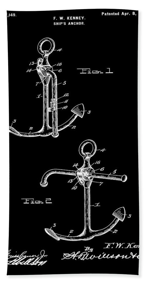 Vintage 1902 Anchor Patent Bath Sheet featuring the mixed media Vintage Anchor Patent by Dan Sproul