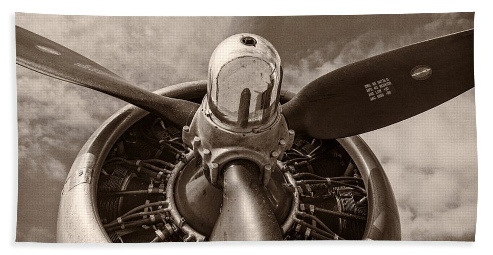 3scape Bath Towel featuring the photograph Vintage B-17 by Adam Romanowicz