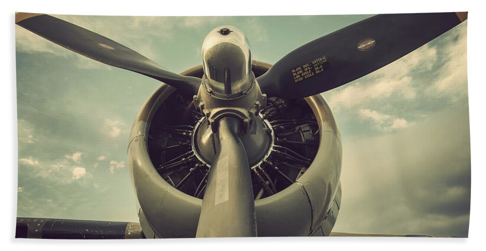 Vintage B-17 Flying Fortress Propeller Bath Sheet featuring the photograph Vintage B-17 Flying Fortress Propeller by Terry DeLuco