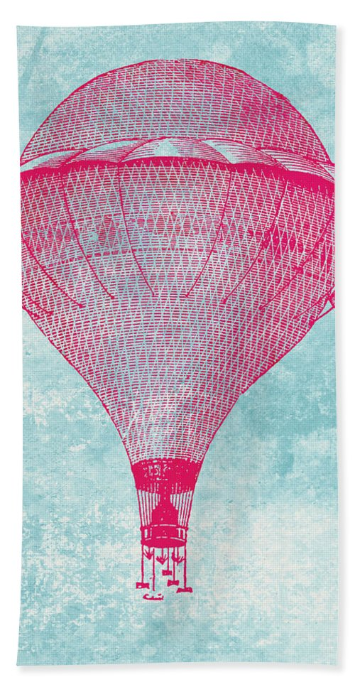 Balloon Bath Sheet featuring the digital art Vintage Balloon by World Art Prints And Designs