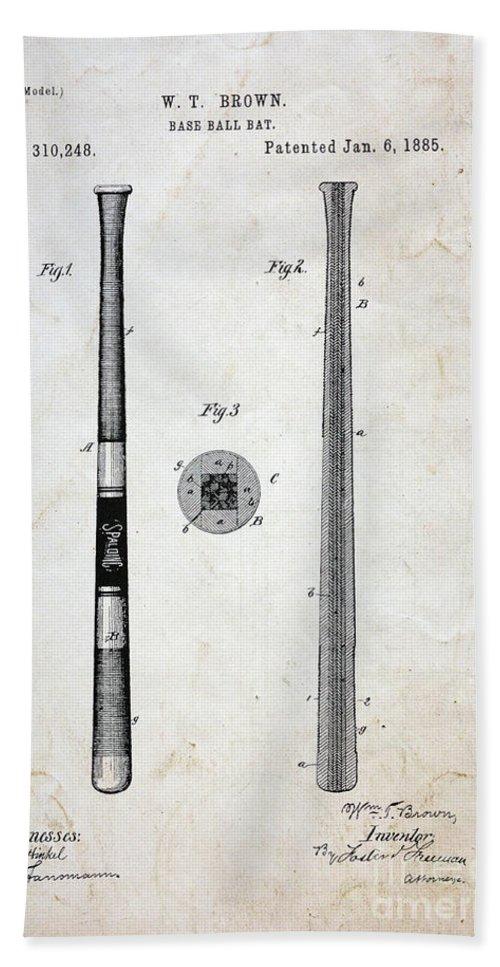 Paul Ward Bath Sheet featuring the photograph Vintage Baseball Bat Patent by Paul Ward