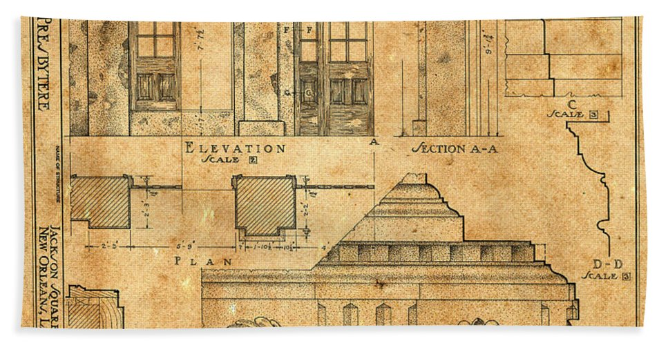 Vintage Blueprints 14 Bath Towel for Sale by Andrew Fare