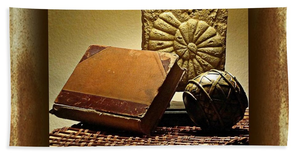 Still Life Bath Sheet featuring the photograph Vintage Book Fossil And Carved Orb by Ellen Cannon