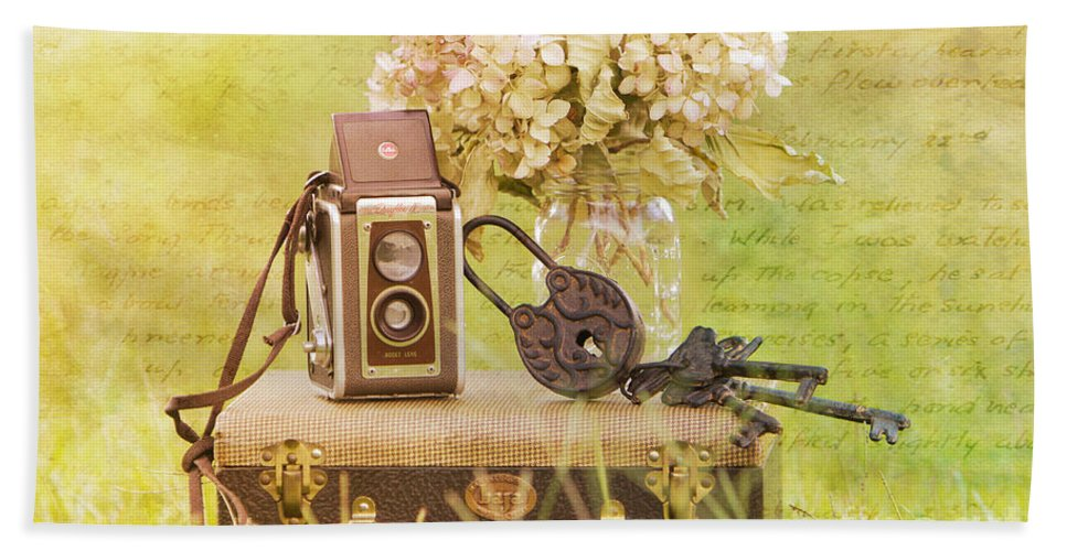 Vintage Bath Sheet featuring the photograph Vintage Camera And Case by Joan McCool
