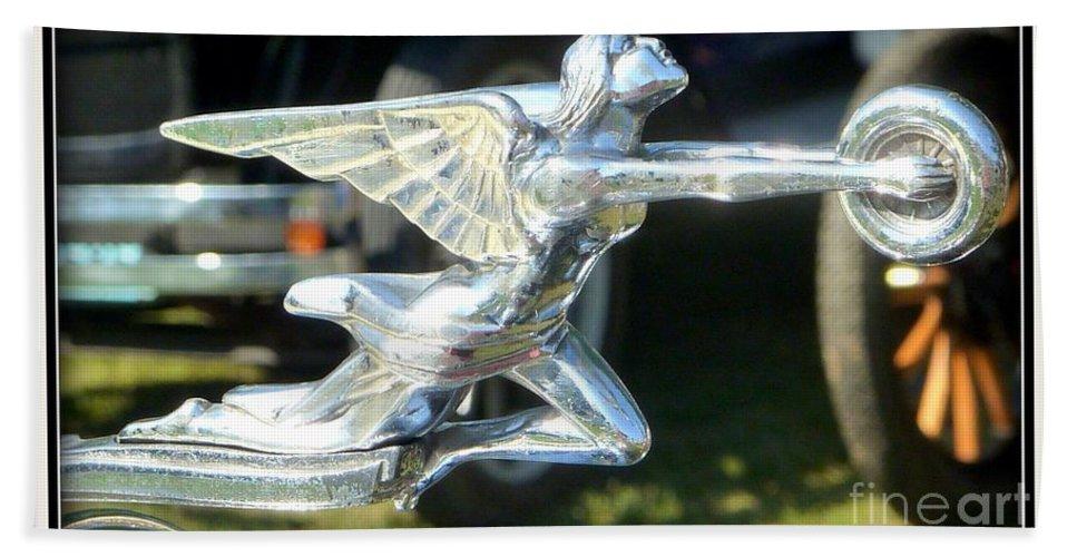 Vintage Packard Car Hood Ornament Hand Towel featuring the photograph Goddess Of Speed Packard Hood Ornament by Susan Garren