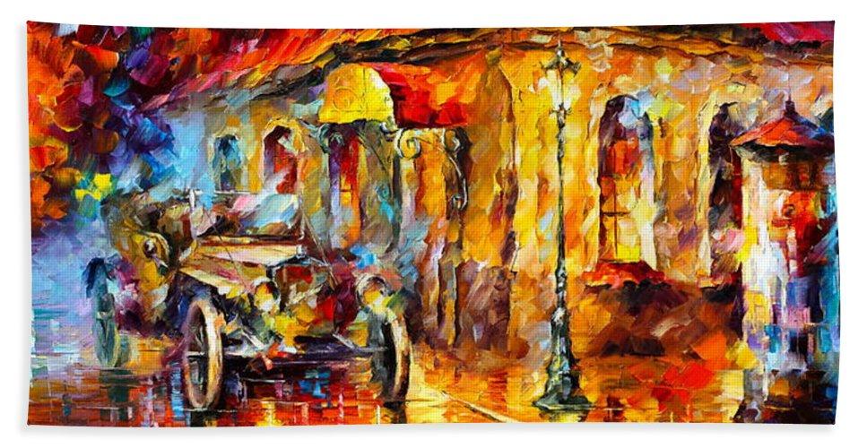 Afremov Bath Sheet featuring the painting Vintage Car by Leonid Afremov