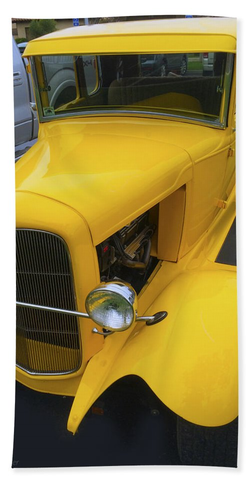 Vintage Car Yellow Detail Hand Towel featuring the digital art Vintage Car Yellow by Barbara Snyder