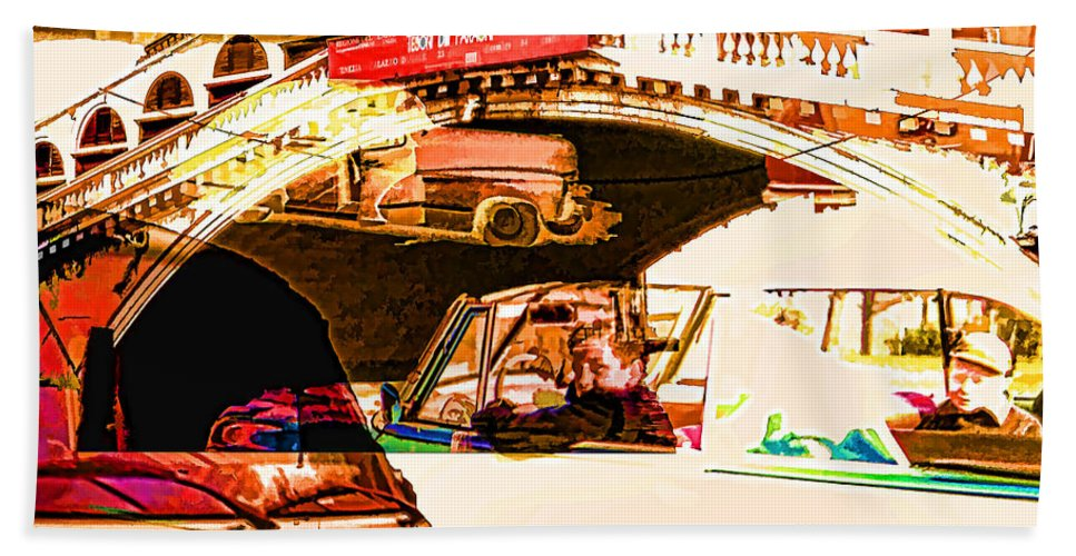 Bath Sheet featuring the digital art Vintage Cars Collage by Cathy Anderson