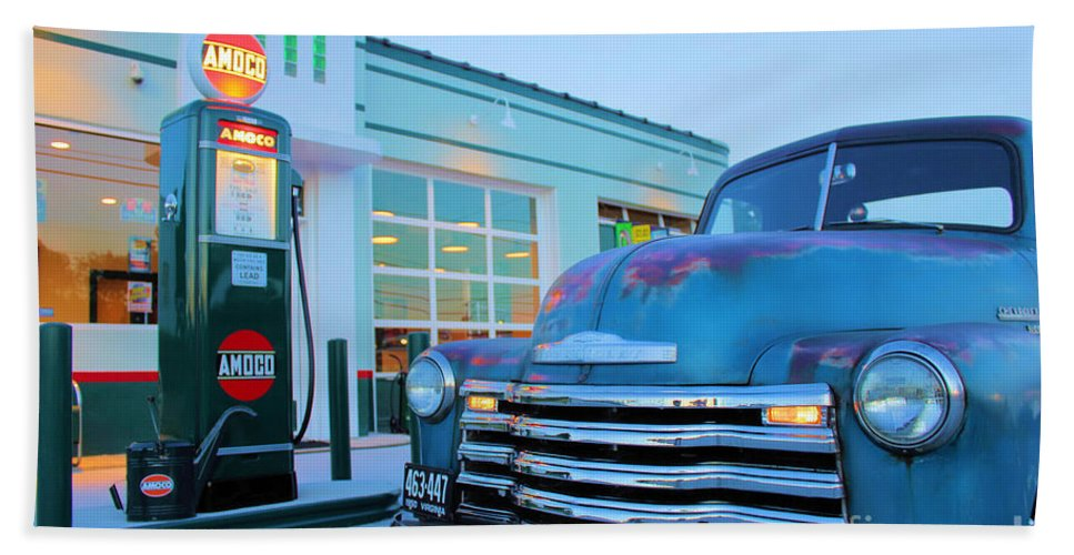 Antique Cars Bath Sheet featuring the painting Vintage Chevrolet At The Gas Station by Todd Bandy