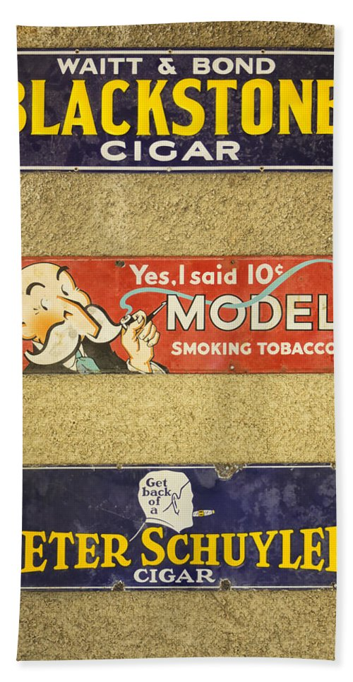 Sign Hand Towel featuring the photograph Vintage Cigar And Tobacco Signs Dsc07152 by Greg Kluempers