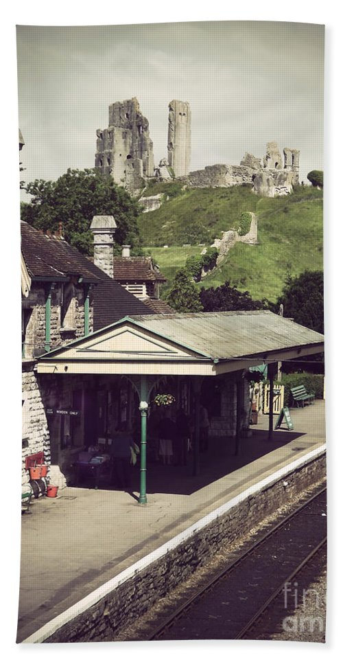 Corfe Hand Towel featuring the photograph Vintage Corfe Castle by Linsey Williams