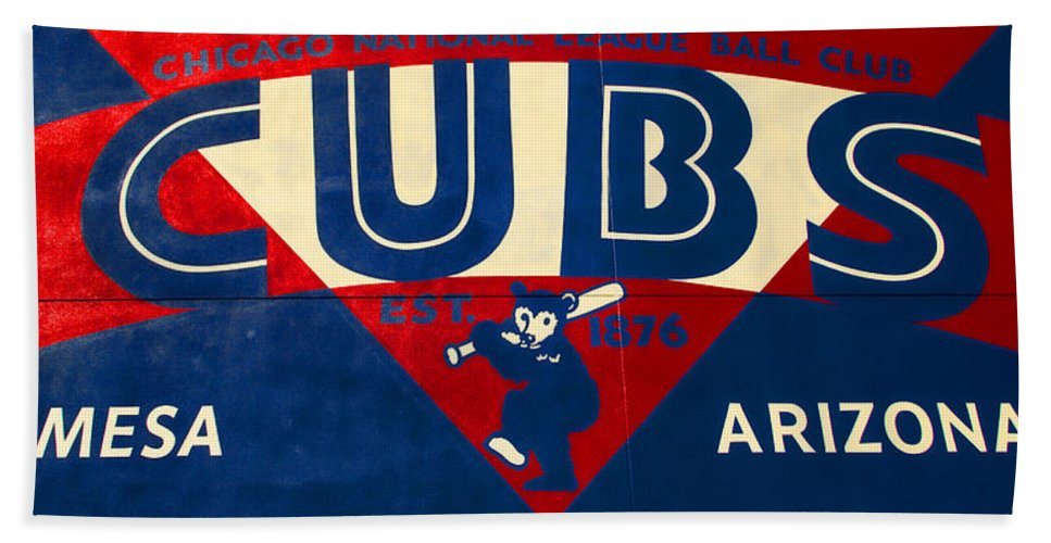Cubs Hand Towel featuring the photograph Vintage Cubs Spring Training Sign by Stephen Stookey