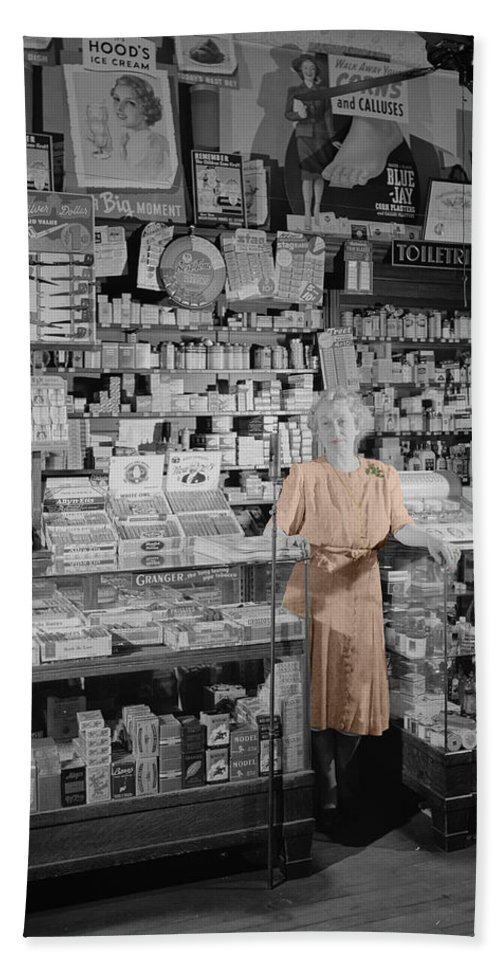 Vintage Drug Store Hand Towel featuring the photograph Vintage Drug Store by Andrew Fare