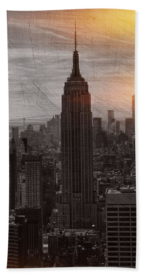 Vintage Empire State Building Hand Towel featuring the photograph Vintage Empire State Building by Dan Sproul