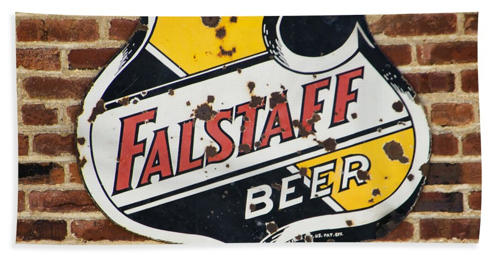 Vintage Hand Towel featuring the photograph Vintage Falstaff Beer Shield Dsc07192 by Greg Kluempers