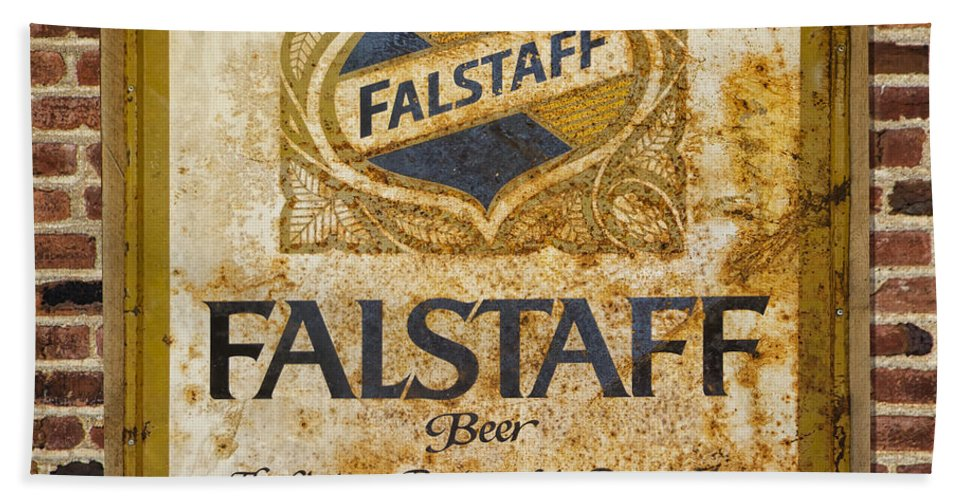 Beer Hand Towel featuring the photograph Vintage Falstaff Beer Sign Square Dsc07179 by Greg Kluempers