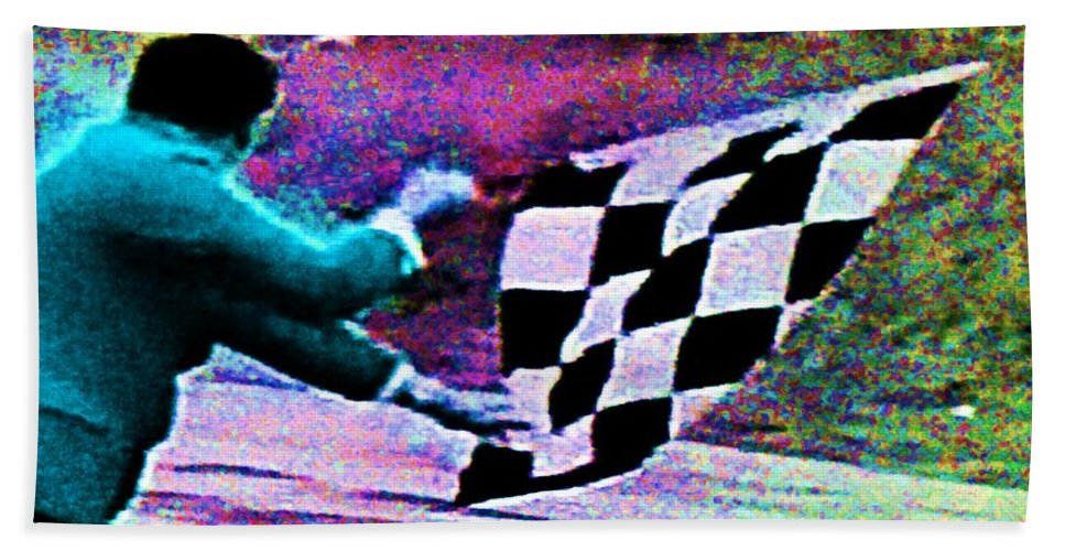 Formula 1 Racing Hand Towel featuring the photograph Vintage Formula 1 Race Checkered Flag by George Pedro