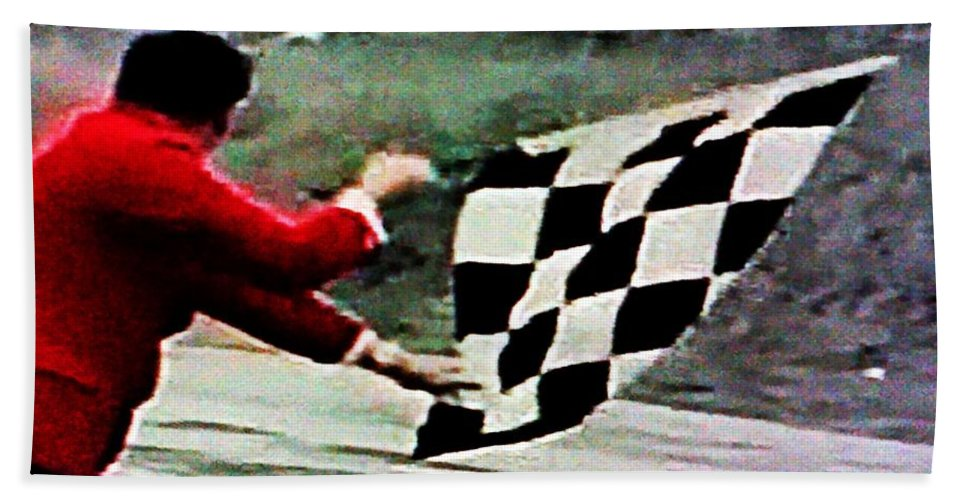 Formula 1 Racing Hand Towel featuring the photograph Vintage Formula Race Checkered Flag by George Pedro
