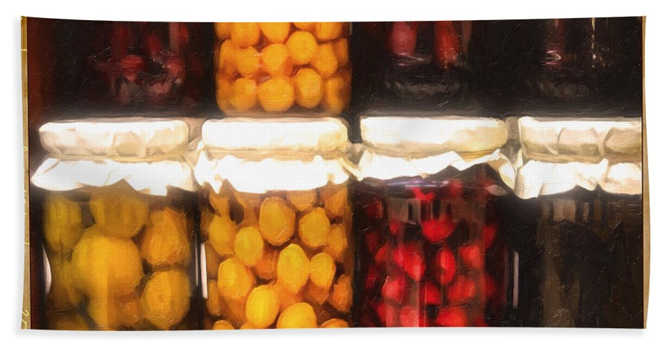 Vintage Bath Sheet featuring the photograph Vintage Fruit And Vegetable Preserves II by Georgiana Romanovna