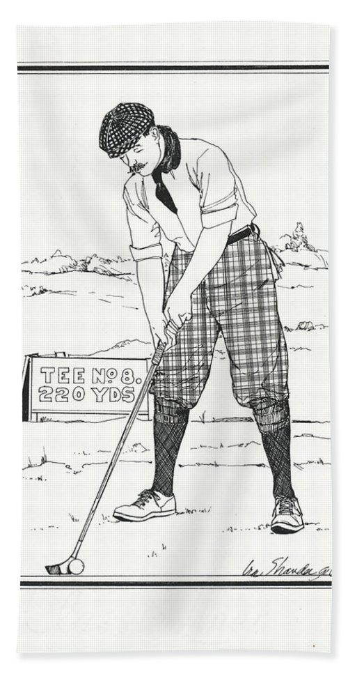 Golf Bath Sheet featuring the drawing Vintage Golfer 1900 by Ira Shander