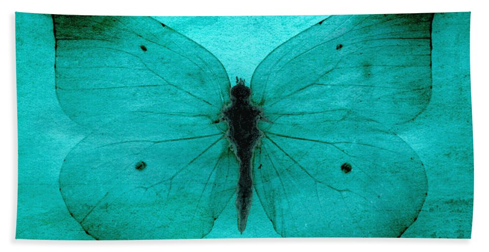 Butterfly Hand Towel featuring the digital art Vintage Grunge Butterfly by Steve Ball