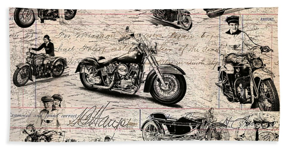 Harley Hand Towel featuring the digital art Vintage Harley Davidson Poster by Eti Reid