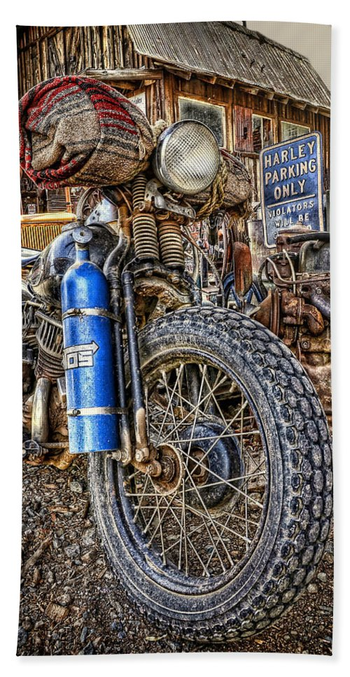 Landscapes Bath Sheet featuring the photograph Vintage Harley With Nos by Ken Smith