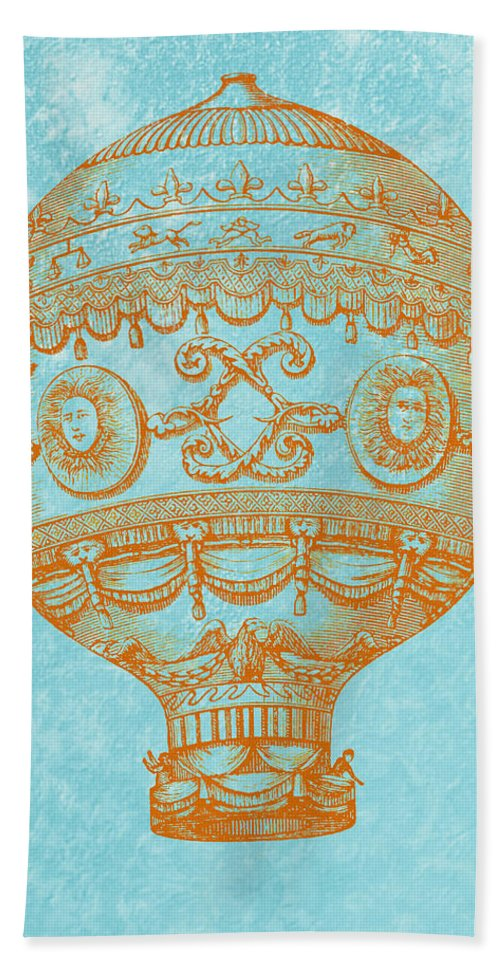 Vintage Bath Sheet featuring the digital art Vintage Hot Air Balloon by World Art Prints And Designs