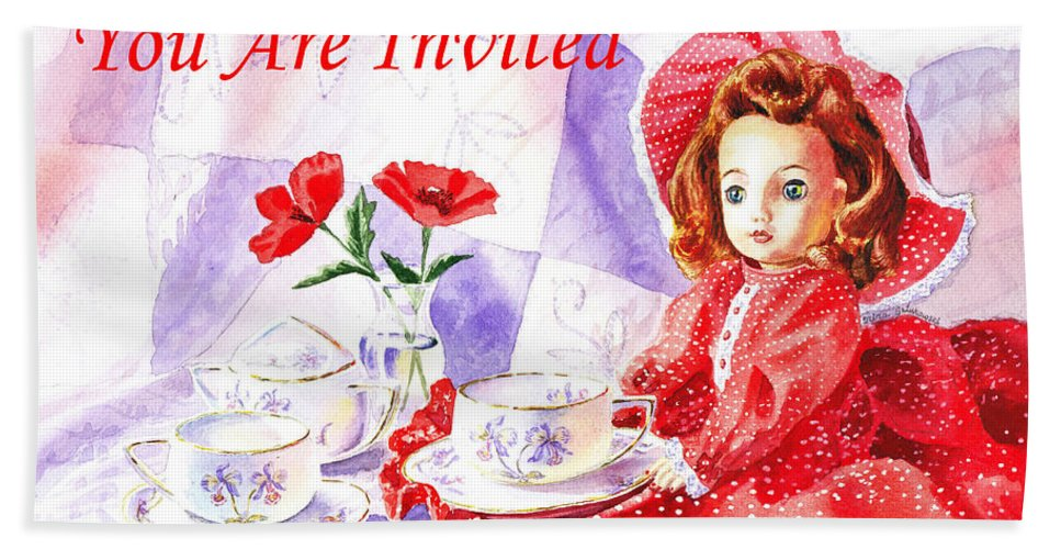 Invitation Bath Sheet featuring the painting Vintage Invitation by Irina Sztukowski