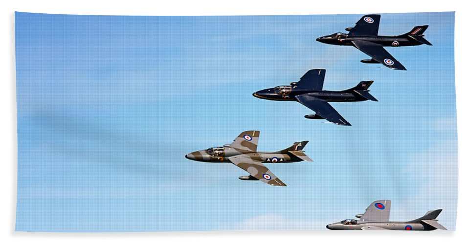 Acrobatic Bath Sheet featuring the photograph Vintage Jetplanes In Formation. by Jan Brons