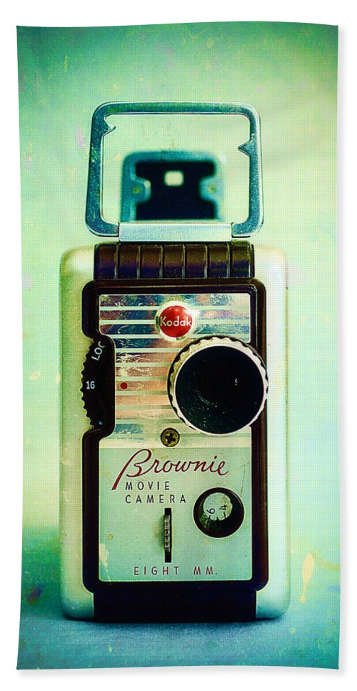 Vintage Bath Sheet featuring the photograph Vintage Kodak Brownie Movie Camera by Jon Woodhams