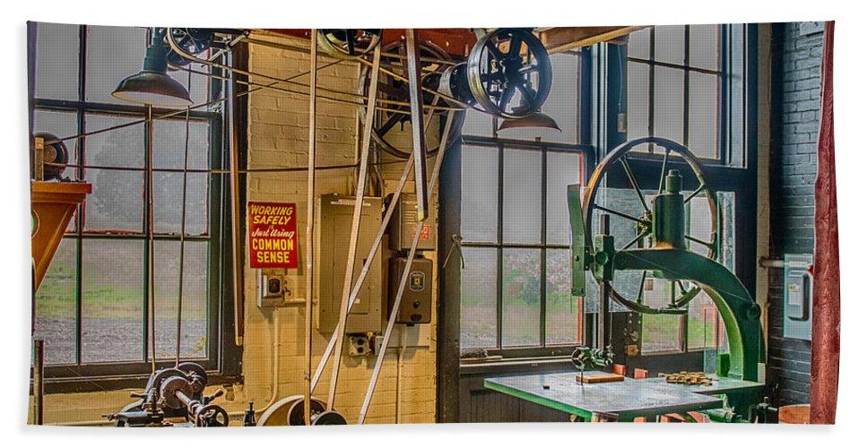 Machine Shop Hand Towel featuring the photograph Vintage Michigan Machine Shop by Paul Freidlund