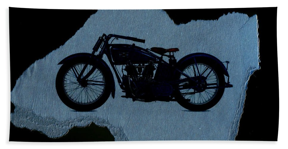 Motorcycle Hand Towel featuring the digital art Vintage Motorcycle by David Ridley