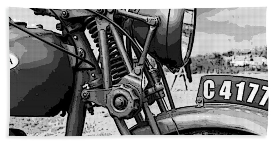 Vintage Motorcycle Hand Towel featuring the digital art Vintage Motorcycle by Marvin Blaine
