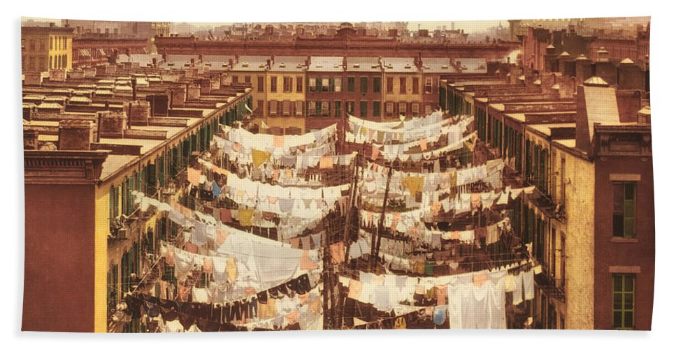 New York City Bath Sheet featuring the photograph Vintage Photo Of Washing Day In New York City 1900 by Mountain Dreams