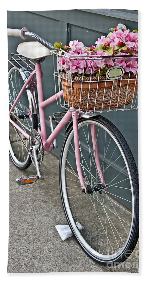 Vintage Bike Hand Towel featuring the photograph Vintage Pink Bicycle With Pink Flowers Art Prints by Valerie Garner