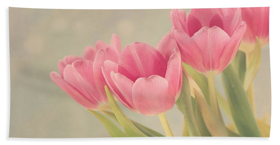 Tulip Bath Sheet featuring the photograph Vintage Pink Tulips by Kim Hojnacki