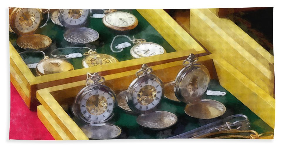 Watch Hand Towel featuring the photograph Vintage Pocket Watches For Sale by Susan Savad