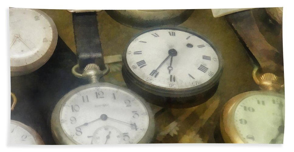 Watch Hand Towel featuring the photograph Vintage Pocket Watches by Susan Savad