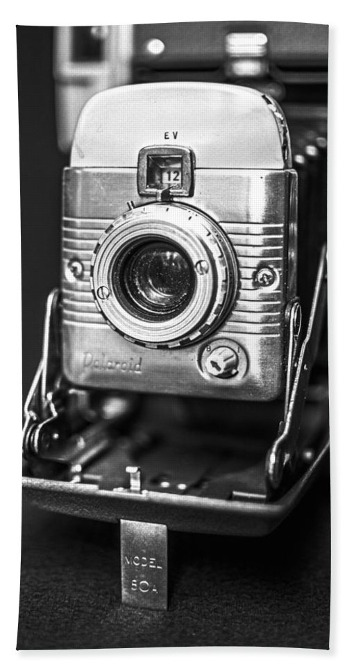 Vintage Hand Towel featuring the photograph Vintage Polaroid Land Camera Model 80a by Jon Woodhams