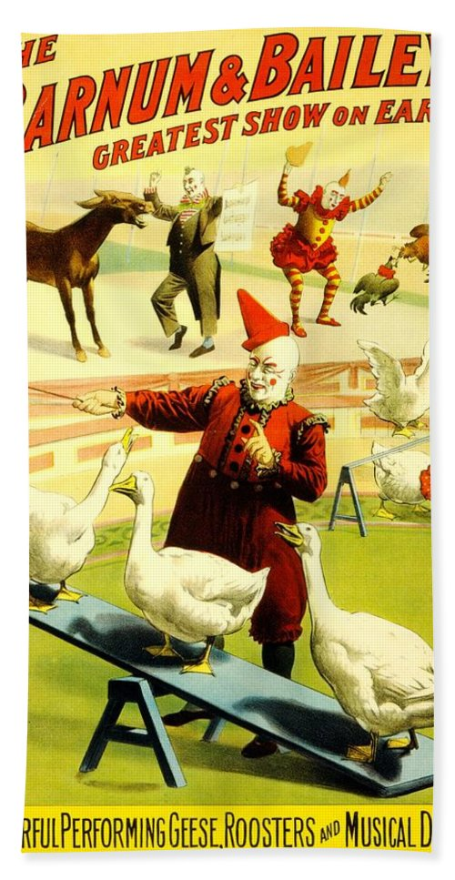 Vintage Bath Sheet featuring the photograph Vintage Poster - Circus - Barnum Bailey Geese by Benjamin Yeager
